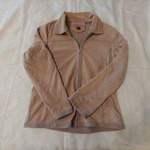 Womens XXL Che-Bella zip up jacket tan suede
